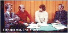 TV debate 1975. From left; Ture Sjolander, Bror Wikstrom, Sven Hoglund and a TV reporter.